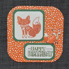 Orange Fox Birthday Card Handmade Card Ink by CraftyCarolynsCards