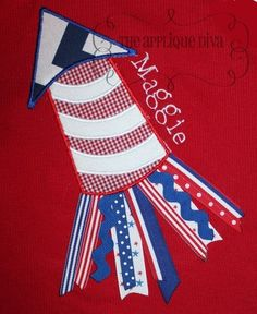 4th of July Ribbon Rocket Embroidery Design Applique.