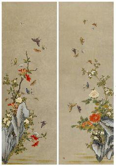 사단법인 한국민화진흥협회 Korean Painting, Pictures To Paint, Graphic Design Illustration, View Image, Drawing Reference, Traditional Art, Landscape Paintings, Peonies, Butterfly