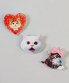 Another great find on #zulily! Sweet Kitty Pin - Set of Three by Picki Nicki #zulilyfinds