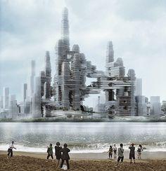 Diseño futurista http://www.arquitexs.com/2014/10/cloud-citizen-diseno-futurista-gana-concurso-Super-City-Competition.html