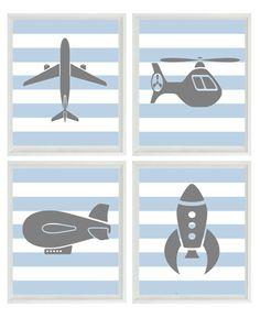 Flying Art Print Set - Boy Nursery Airplane Helicopter Rocket Blimp - Gray Blue Stripes Wall Art Home Decor Set Of 4 8x10 Prints. $50.00, via Etsy.
