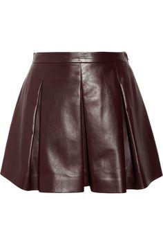 Miu Miu|Pleated leather mini skirt|NET-A-PORTER.COM