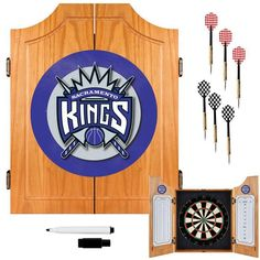 Trademark Commerce NBA7000-SK Sacramento Kings NBA Wood Dart Cabinet Set