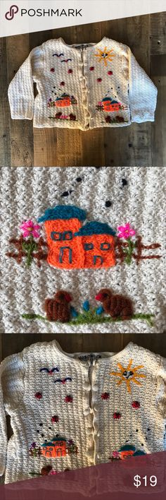 🌞Hand Embroidered Peruvian Kids Cardigan Sz 4🌞 The most ADORABLE handmade cream-colored cardigan w/a hand-embroidered pastoral scene! Ladybugs, birds, little orange & turquoise houses, flowers, lambs & a smiling sun adorn the front. Button up front. 100% cotton. Handmade in Peru. Yusutex brand. Size 4. Great pre-loved condition with no flaws to note. Sweet little sweater for spring/summer!  Hipster boho bohemian funky retro vintage ethnic artisan OAK crewel Handmade Shirts & Tops Sweaters