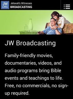 JW Broadcasting offers family-friendly online TV that is spiritually uplifting. Watch original content produced in the JW Broadcasting studio, as well as a selection of videos from the jw.org website. Watch one of the Streaming channels that broadcasts these videos 24 hours a day, or play individual videos any time using the Video on Demand feature. http://tv.jw.org/#home