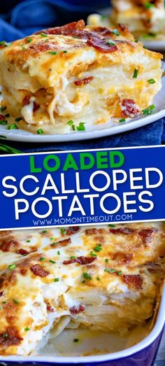 These Loaded Scalloped Potatoes are next level comfort food! This easy to make scalloped potatoes recipe features layers of potatoes with a rich, creamy sauce, cheese, bacon and caramelized onions mak Potato Side Dishes, Vegetable Side Dishes, Vegetable Recipes, Loaded Scalloped Potatoes Recipe, Scallop Potatoes, Loaded Potato, Side Dish Recipes, Dinner Recipes, Easy Comfort Food Recipes