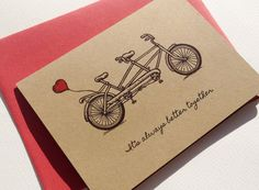 This illustrated tandem bicycle with a lovely heart balloon tied to the back says it all. Perfect for Anniversary, Valentines Day, Birthday or for a