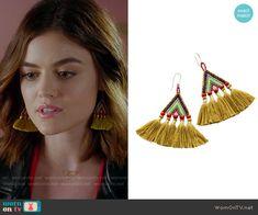 Aria's tassel earrings on Pretty Little Liars.  Outfit Details: https://wornontv.net/70419/ #PLL
