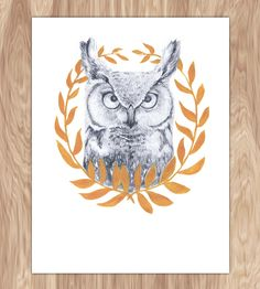 Wise Old Owl Art Print by Fin and Feather Art on Scoutmob Shoppe