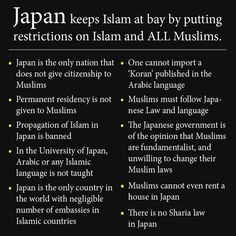 Amid rising concerns about terrorist attacks by ISIS, we've seen an uptick in chain emails and viral images about Islam. One viral image points to Japan as an example of a country that keeps out radical Islam by cracking down on all forms of Islam and its adherents, implying that this is a good model for the United States to follow. The graphic is a simple black-and-white block of text with the headline,