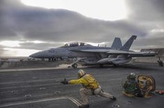 A U.S. Navy EA-18G Growler launches off the flight deck of the aircraft carrier USS Theodore Roosevelt (CVN 71) #military #armedforces #aircraft #navy #aviation #usn #f18 #growler by globalair