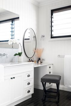 White and black dressing table area in bedroom of stunning Brisbane home the combines classic features with a modern feel for the best of both worlds. Black Dressing Tables, French Oak, Australian Homes, New Builds, Beautiful Bathrooms, Brisbane, Dining Area, Home And Living, New Homes