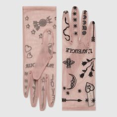 Tulle gloves with symbols embroidery