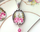 Broken china jewelry pendant necklace antique pink rose fine porcelain with pearl and crystal