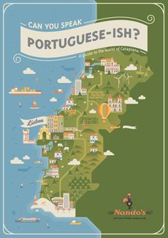 Portugal Illustrated Map - Nandos by Radio , via Behance Travel Illustration, Flat Illustration, Vector Illustrations, Travel Maps, Travel Posters, Map Design, Graphic Design, Travel Design, Information Design