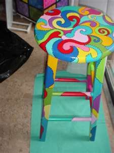 Hand painted funky bar stool. So cute.