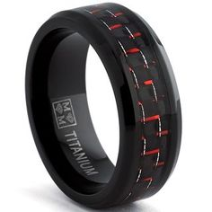 Oliveti Black Plated Titanium Men's Black and Red Carbon Fiber Comfort Fit Band (8mm) | Overstock™ Shopping - Big Discounts on Men's Rings