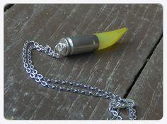 Daywalker. Hazy Sunshine  Agate Fang Talon and bullet shell tribal unisex  necklace