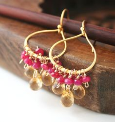 ruby and citrine on gold vermeil hoops