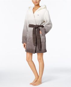 Tommy Hilfiger Ombre Fleece Hooded Wrap Robe