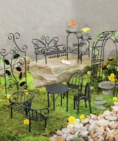 Plow & Hearth Miniature Fairy Garden Metal Furniture Set   zulily