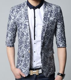 ****Stylish Casual Short Sleeves Floral Light Blue Print Blazer | www.pilaeo.com #men's #luxury #fashion