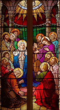 Saint Alphonsus Liguori Roman Catholic Church, in Saint Louis, Missouri, USA - stained glass window Pentecost