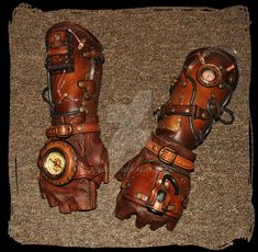 leather bracers Steampunk by Lagueuse on DeviantArt Gants Steampunk, Steampunk Vetements, Steampunk Gloves, Mode Steampunk, Steampunk Weapons, Steampunk Crafts, Steampunk Cosplay, Steampunk Accessories, Steampunk Design