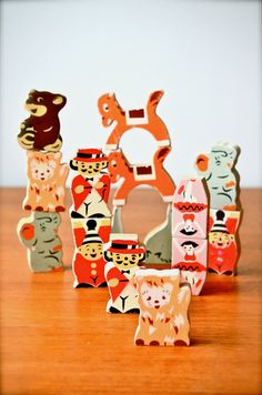 Vintage Circus Japanese Wooden Blocks with Ballerinas, Clowns, Ringmaster, Elephants, Lions, & More for Children.