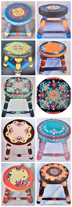 Atelier Gina Pafiadache  Bancos em Bauernmalerei Hand Painted Chairs, Painted Stools, Funky Painted Furniture, Recycled Furniture, Art Furniture, Tole Painting, Painting On Wood, Home Crafts, Diy And Crafts