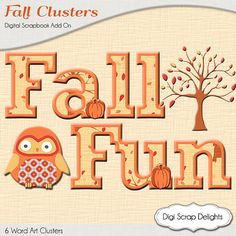50% OFF TODAY Autumn Cluster Word Art Fall by DigiScrapDelights