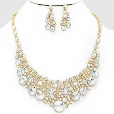 Chunky Clear Crystal Gold Chain Necklace Earring Set Fashion Costume Jewelry | eBay