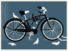 Blue bike  hand made 3 color screen print  print measures 24 inches x 18 inches  signed & numbered edition of 150  artist:  Robert Lee (Methane Studios)
