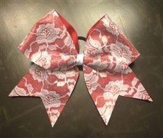 "Red with white lace overlay ""Be MyValentine"" cheer bow."