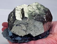 Pyrite on Hematite, Italy. This and more important minerals for sale on CuratorsEye.com