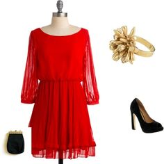 Little Red Dress, created by sharu901 on Polyvore