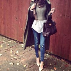 smart hijab look- Fall hijab outfits in warm colors…