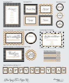 New Year's Eve Partie Kit  Menu Cards Party Flags by LePartieSugar, $50.00