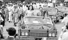 Jackie Kennedy and Norodom Sihanouk in Motorcade in Cambodia during her visit as a goodwill ambassador in 1967 ♡❀♡✿♡❁♡✾♡✽♡❃♡❀♡  http://en.wikipedia.org/wiki/Jacqueline_Kennedy_Onassis http://en.wikipedia.org/wiki/Jacqueline_Kennedy_Onassis