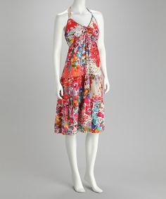 Look what I found on #zulily! Pink & Orange Halter Sundress by Claudia Richard #zulilyfinds