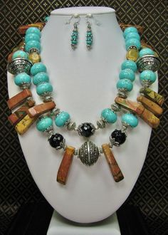 WARRIOR PRINCESS - Chunky Howlite Turquoise Statement Necklace Set / Double Strand Necklace / Cowgirl Necklace / Tribal Jewelry - See more at: http://www.buckaroobay.com/catalog.php?item=7895#sthash.6GfivIIa.dpuf