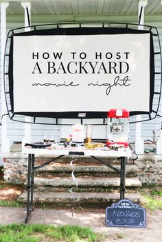 Hosting a backyard movie night is so easy and it's fun for the entire family! Here are some tips on making your own backyard movie night a success! Backyard Movie Party, Outdoor Movie Party, Backyard Movie Theaters, Outdoor Movie Screen, Backyard Movie Nights, Outdoor Movie Nights, Backyard Games, Outdoor Fun, Outdoor Theater