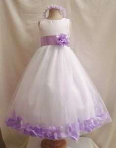 Flower Girl Dress WHITE/Lilac PETAL Wedding Children Easter Bridesmaid Communion Lilac Burgundy Guava Coral Green Sage Gold Fuchsia on Etsy, $35.99