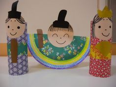 Japanese doll craft for the week we study Japan for our summer passport series. Cardboard tube. Paint blue or red. Decorate with Q-tip in white paint, yellow tissue obi belt? I have some gold Christmas wrapping paper.