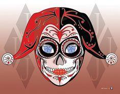 Harley Quinn Sugar Skull Etsy listing at https://www.etsy.com/listing/163984633/harley-quinn-sugar-skull-print-11x14