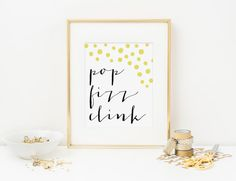 """Pop Fizz Clink Bubbles Art Print // Home Wall by SushiandQueso - Need for above our """"bar"""" cabinets"""
