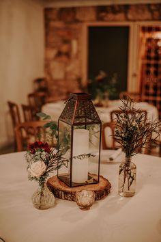 Copper Lantern, Bud Vases, Wood Stump, Gold Mercury Votive P. Boho Wedding, Wedding Table, Fall Wedding, Rustic Wedding, Wood Stumps, Copper Lantern, Rustic Lanterns, Tree Lighting, Twinkle Lights