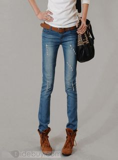 Stunning Korean Style Hole Jeans