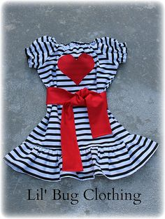 Custom Boutique Valentines Day Stripes Red Heart Peasant Dress | Lilbugclothing - Clothing on ArtFire